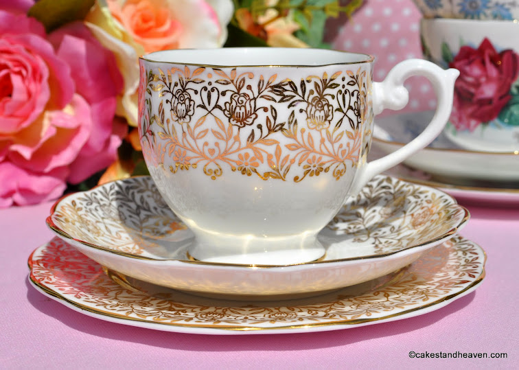 Vintage gold floral vintage teacup trio made by Queen Anne