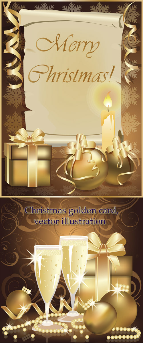 Stock: Christmas golden card, vector illustration