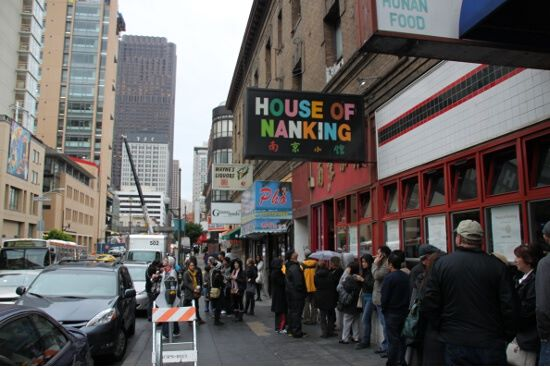 Ridiculous lineup outside House of Nanking. Thankfully, we were leaving.