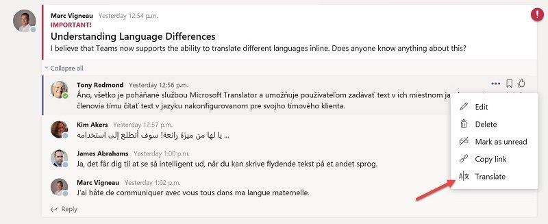 Chat translation helps improve the Microsoft Teams end user experience