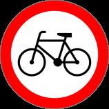 B-9  zakaz wjazdu rowerów  Znak zakazuje ruchu zarówno na jezdni i poboczu rowerów i wózków rowerowych. Stosowany na drogach o dużym natężeniu ruchu lub dużej dopuszczalnej prędkości stanowiących niebezpieczeństwo dla kierujących rowerami oraz tam, gdzie w pobliżu została wyznaczona droga dla rowerów oznaczona znakiem C-13.