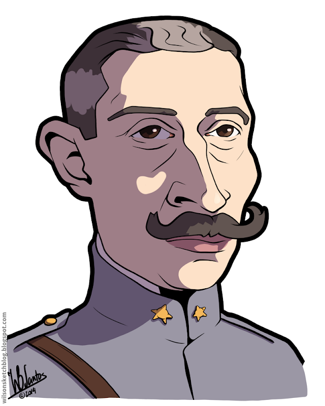 Cartoon caricature of the 4th President of the Portuguese Republic, Sidónio Pais.