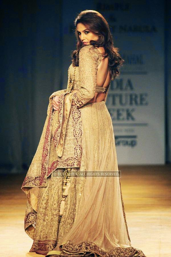 Bollywood actress Huma Qureshi walks the ramp for Rimple and Harpreet on Day 6 of India Couture Week, 2014, held at Taj Palace hotel, New Delhi.