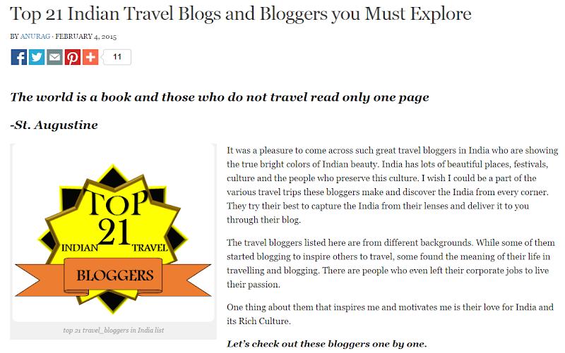 Top Indian Travel Bloggers