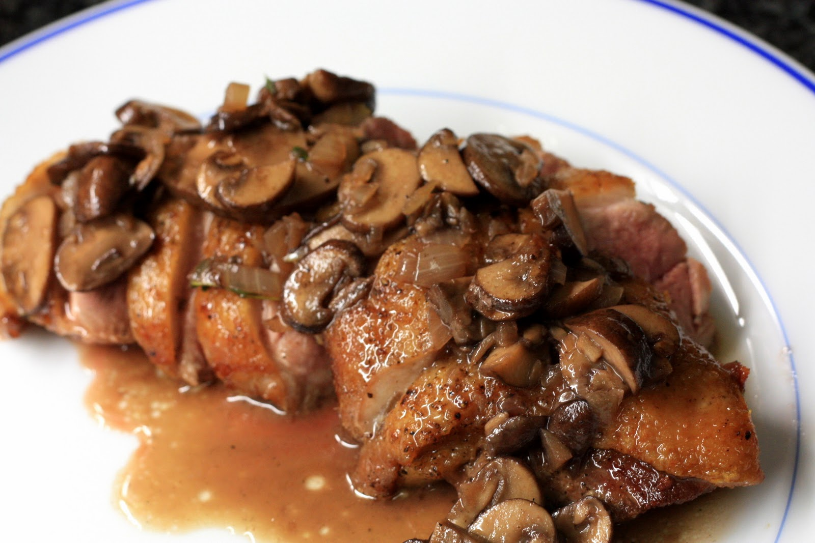 fresh local and best: pan seared duck breasts with mushroom sauce