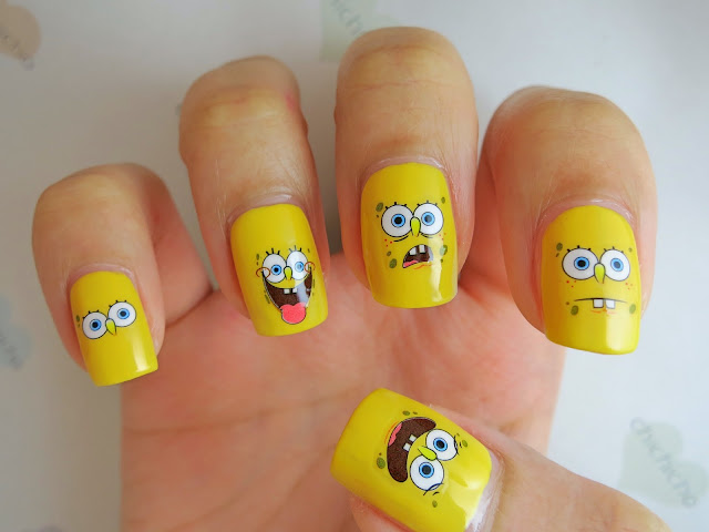 SpongeBob Faces Water Decal Nail Art BLE1606