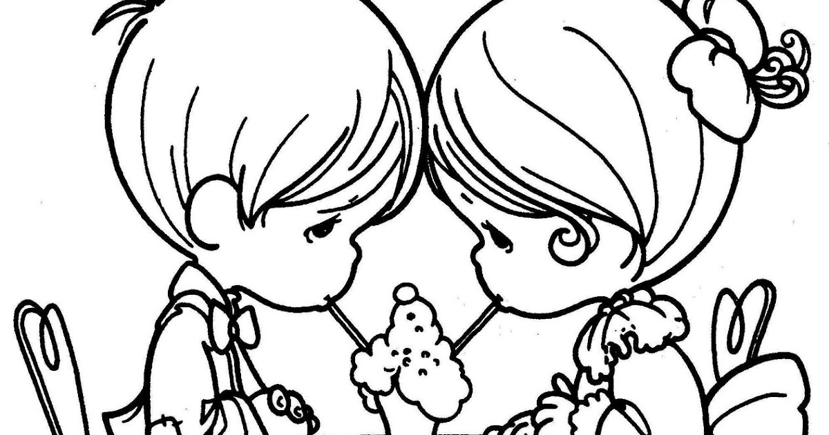 coloring pages couple in love free precious moments