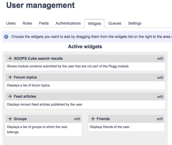 Plugg Community System : Widgets