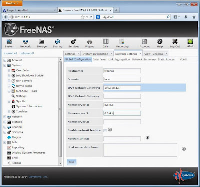 Configuración global de FreeNAS