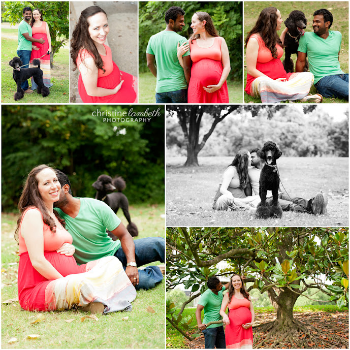 Bethany and Saby maternity with pet poodle