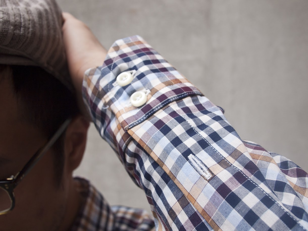 Cuff shot of Ratio Clothing Ogden Plaid shirt