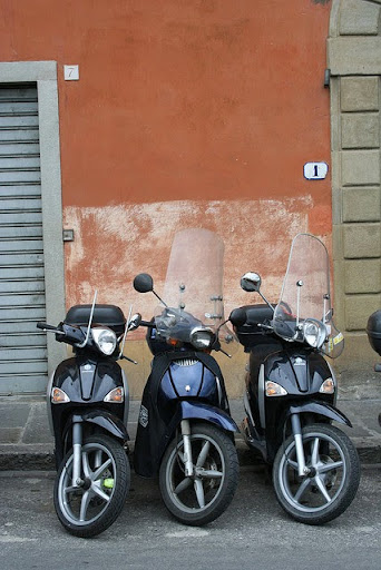 Happiness is...Italian motorcycles. Florence. From Italy: 100 Locals Tell You Where to Go, What to Eat, and How to Fit In