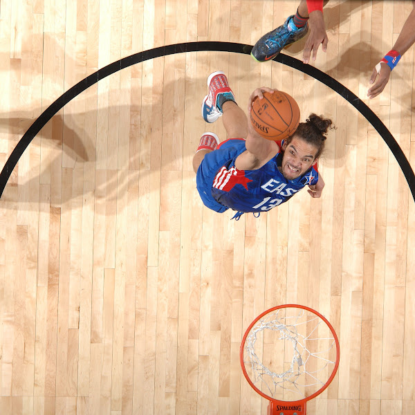Joakim Noah #13 of the Eastern Conference All-Stars attempts a dunk during the 2013 NBA All-Star Game on February 17, 2013 at Toyota Center in Houston, Texas.