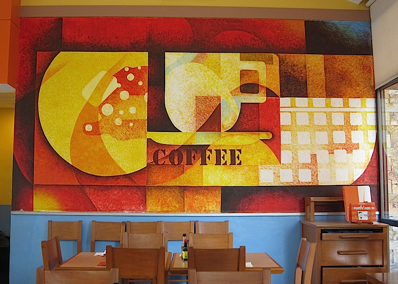 coffee mural at Pancake House