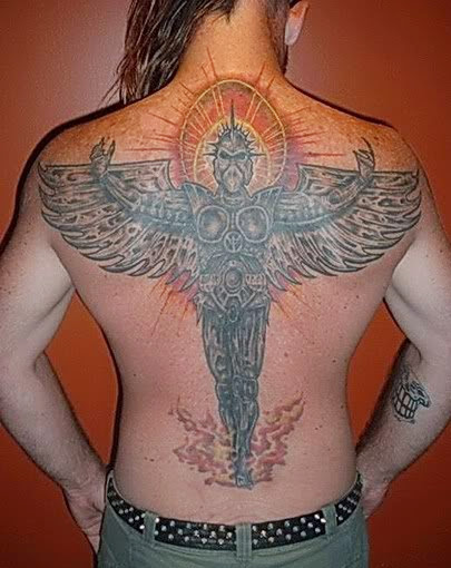 angel tattoos on back
