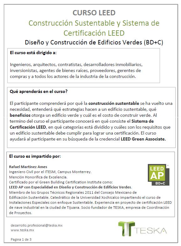 Arquitectos de tijuana curso leed tijuana for Cursos para arquitectos