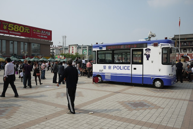police truck at Nanmen Square in Yinchuan, Ningxia, China