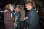 Miranda does last-minute sax practice before hitting the stage with kenny