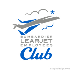 Bombardier Learjet Employees Club logo design Wichita, Kansas