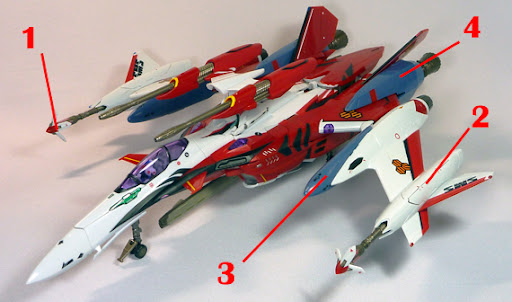 Macross Frontier YF-29 Super Durandal Armament weapon position