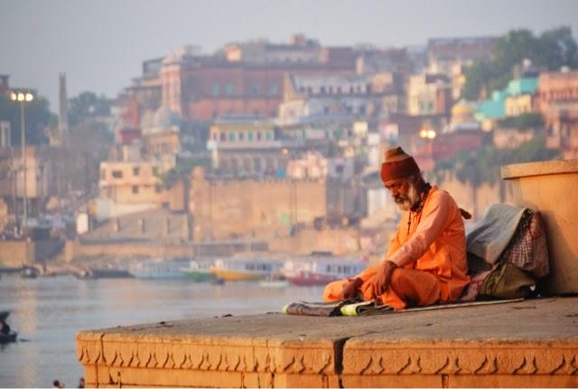 Varanasi Ganges Man Food Street Photography Sadhu Saint oirange
