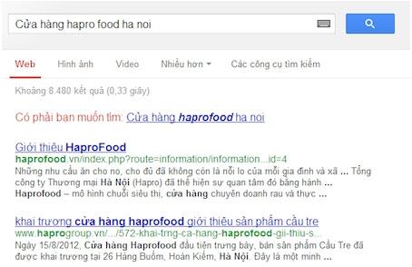 ket qua tim kiem cua hang hapro food cua google