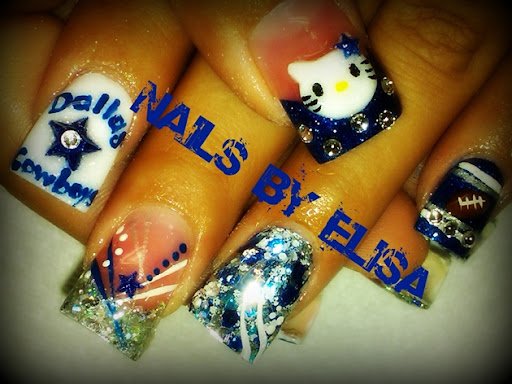 Pink Dallas Cowboys Nail Art