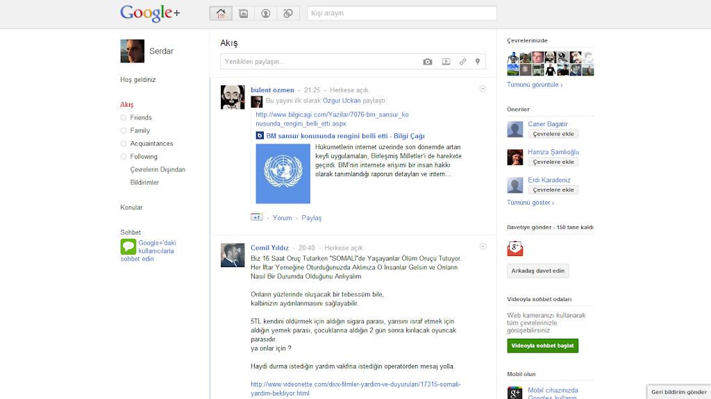 Google Plus  Ana Sayfa