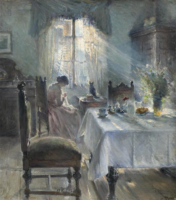 Bertha Wegmann - Woman sewing in an interior
