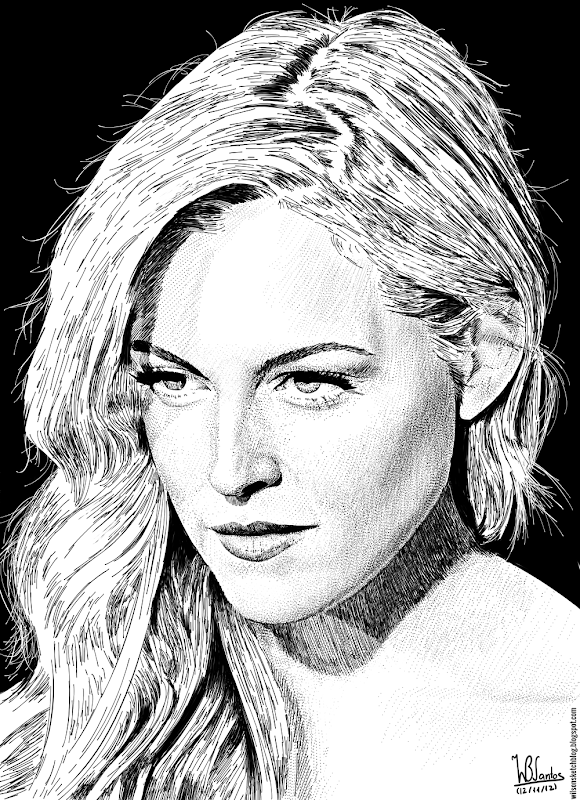 Ink drawing of Riley Keough, using Krita 2.4.