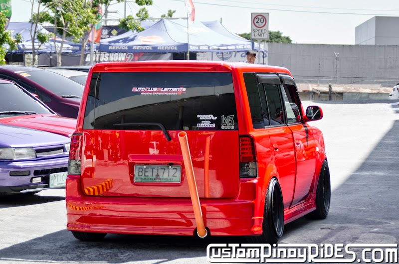 Red Toyota bB stanced on Black BBS RS Mesh Wheels Custom Pinoy Rides Car Photography Manila Philippines pic2