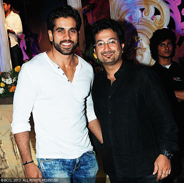 Rajeev Pillai and Nikhil Menon during Vinu Mohan, Vidya's wedding reception held in Kerala.