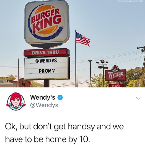 Burger king's billboard of asking wendy's for a date