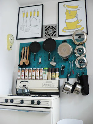 Tiny-Ass Apartment: Square pegs: pegboards in the kitchen