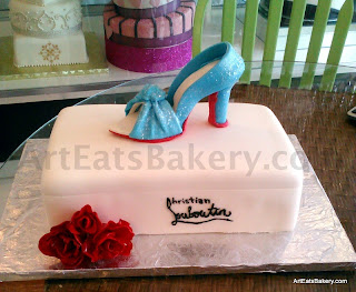 Custom 3D fondant bridal shower cake with Christian Louboutin sculpted open toe heel and edible red roses
