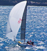 J/111 one-design sailboat- sailing off Sydney, Australia