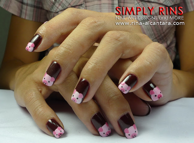 Little Pink Pigs Nail Art Design 05