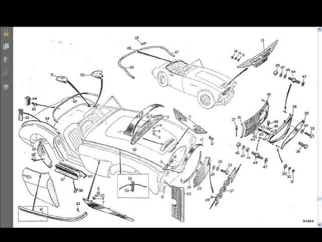 Austin Healey 3000 Parts Manual 375pgs Parts List W