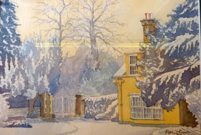 Painting of The Lodge, Bridge Lane, Little Shelford (formerly part of Little Shelford Old Hall, demolished in 1851)