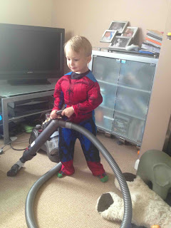 blake preston clement as spiderman with the dyson from john lewis