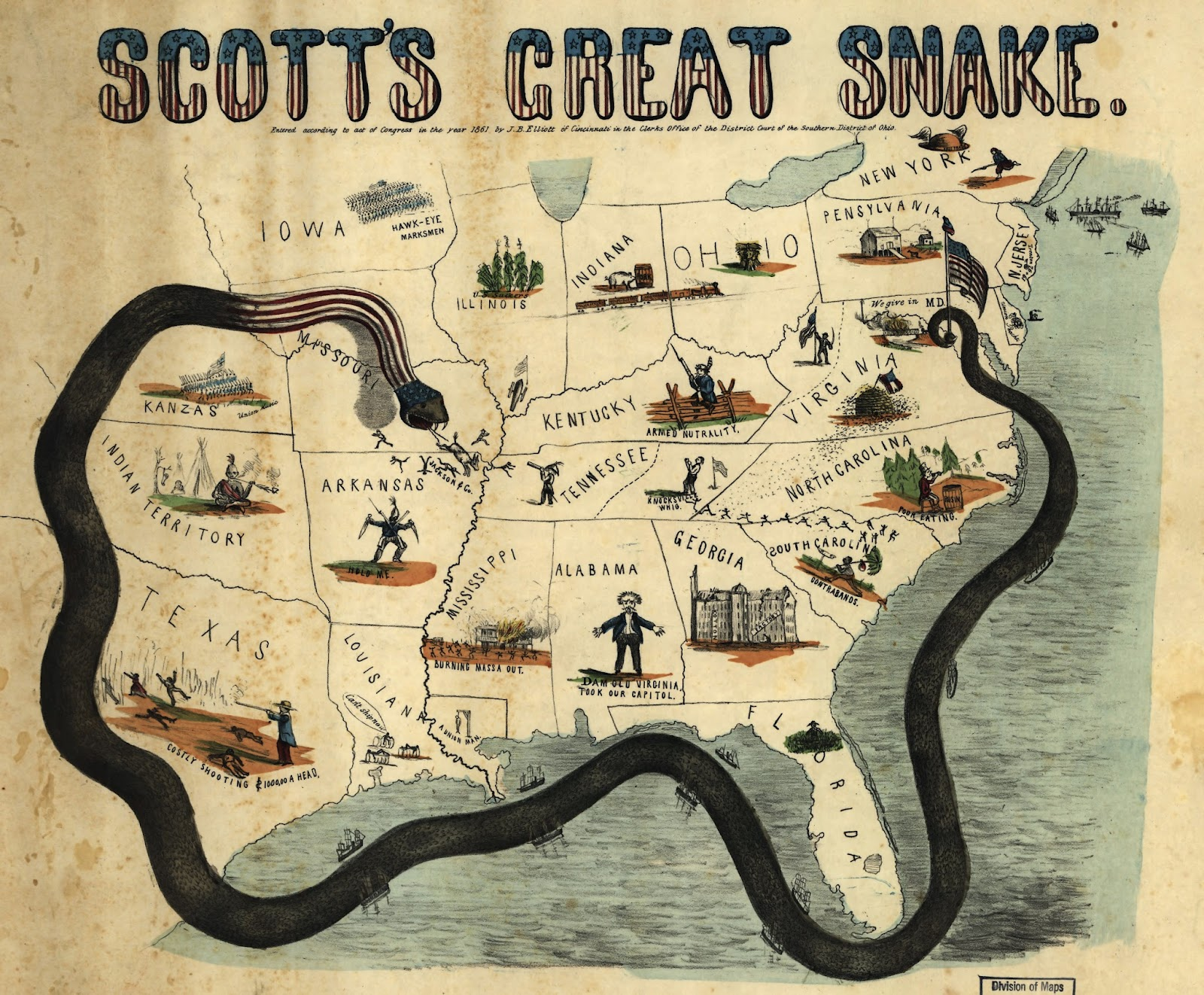 Vintage Infographic Civil War Map Scott's Great Snake (1861)