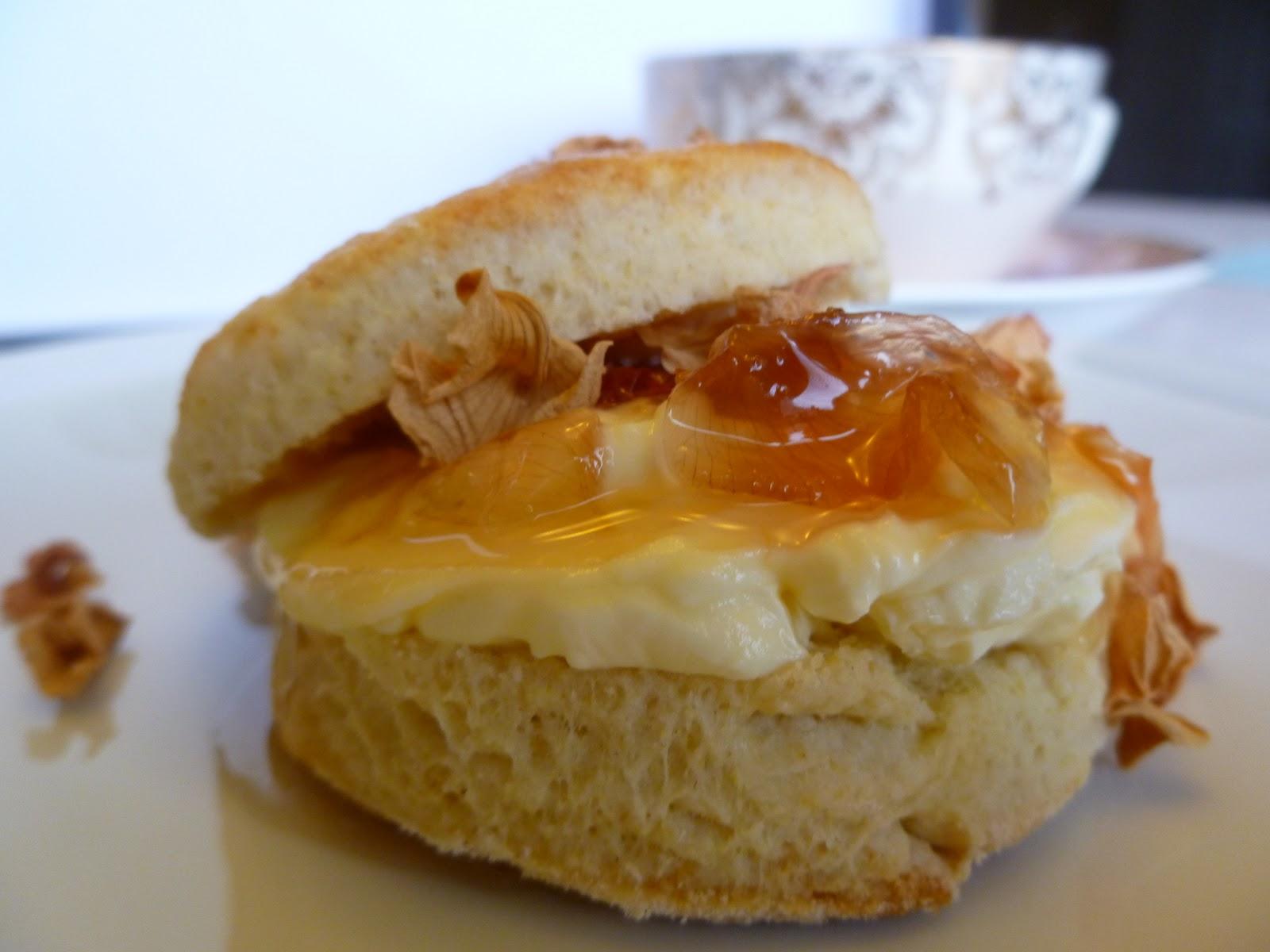 ... Lemon Drops: Classic Scones with Clotted Cream & Wild Rose Petal Jam