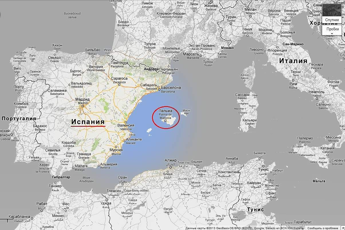 Карта Майорка