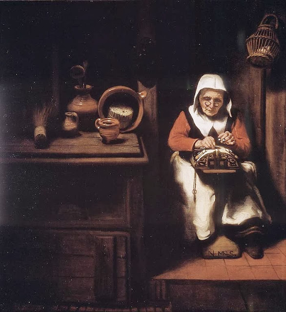 Nicolaes Maes - The Old Lacemaker