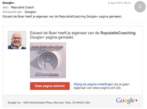 Eigenaarschap Google+ pagia overdragen