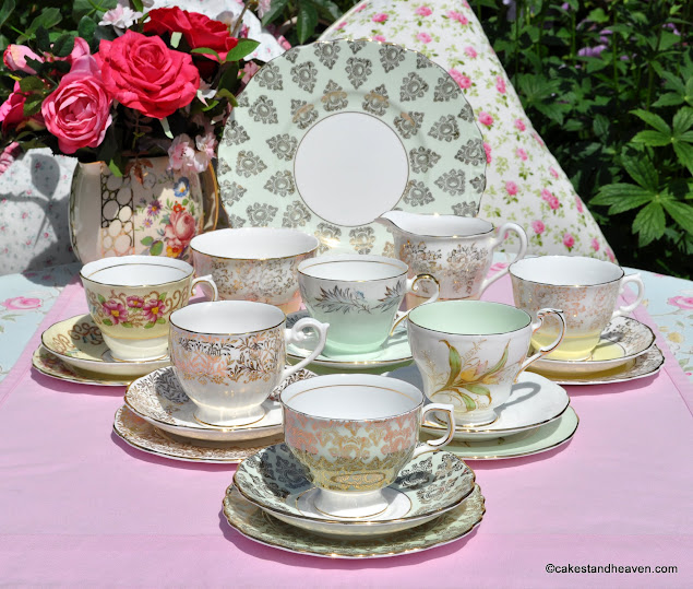 Mismatched vintage bone china tea set