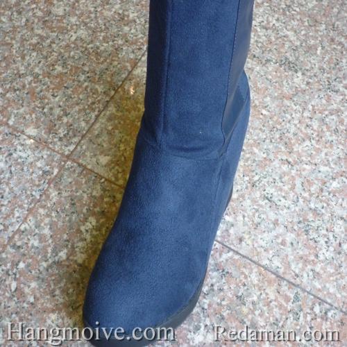 Boots đế xuồng, cao cổ quá đầu gối, chất liệu bằng da lộn, màu xanh 4 - Chỉ với 790.000đ