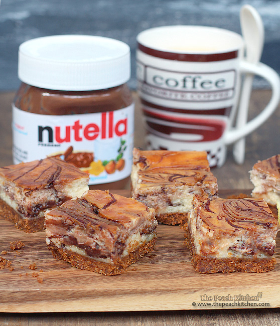 Nutella Swirl Cheesecake Bars | www.thepeachkitchen.com