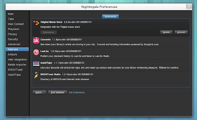 Nightingale 2.2.x - preferências