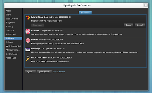 Nightingale 2.2.x - preferenze